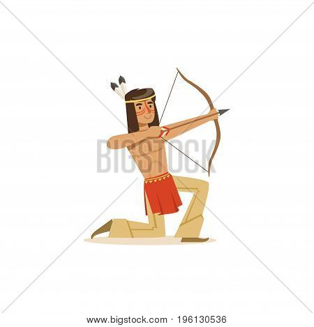 Native american indian kneeling and shooting a bow vector Illustration isolated on a white background