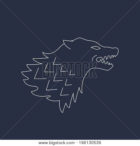 Wolf head. Vector illustrations. Abstract line icon isolated on background