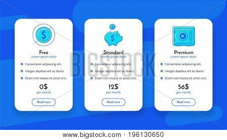 Set of offer tariffs. ui ux vector banner for web app. set of pricing table, order, box, button, list with plan for website in flat design. Vector illustration