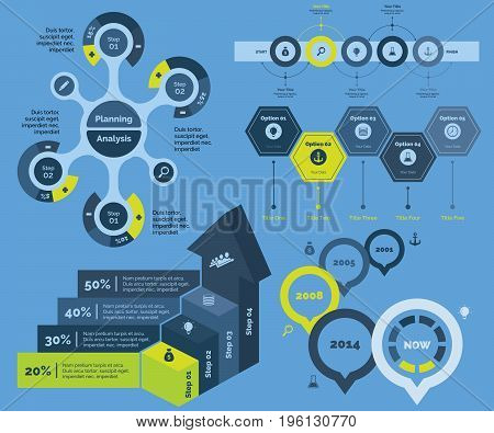 Infographic design set can be used for workflow layout, diagram, annual report, presentation, web design. Business and statistics concept with process and bar charts.