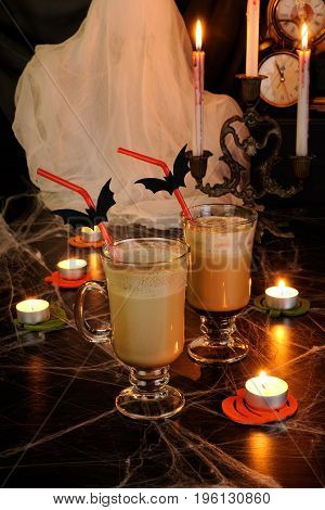 Chilled Milk Coffee Cocktail in Glass-Irish for Halloween