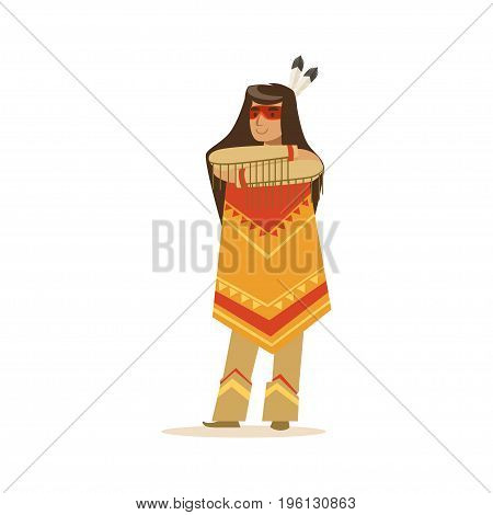 Native american indian girl in traditional indian clothing standing with folded arms vector Illustration isolated on a white background