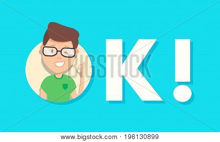 Happy young man winking and showing ok sign over blue background. Vector illustration isolated on background