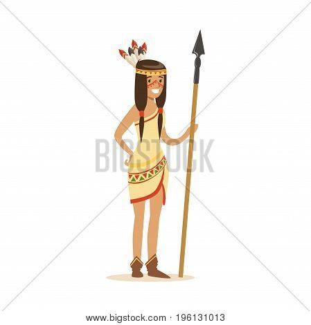Native american indian girl in traditional indian clothing standing with spear vector Illustration isolated on a white background