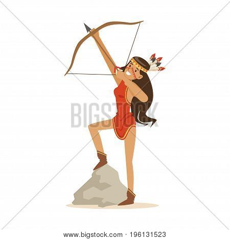 Native american indian girl in traditional red indian dress shooting a bow and arrow vector Illustration isolated on a white background
