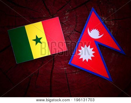 Senegal Flag With Nepali Flag On A Tree Stump Isolated