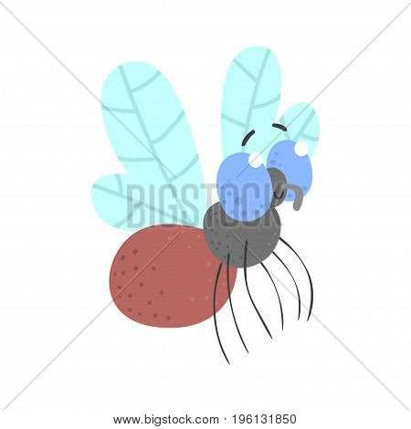 Cute cartoon fly insect character vector Illustration isolated on a white background