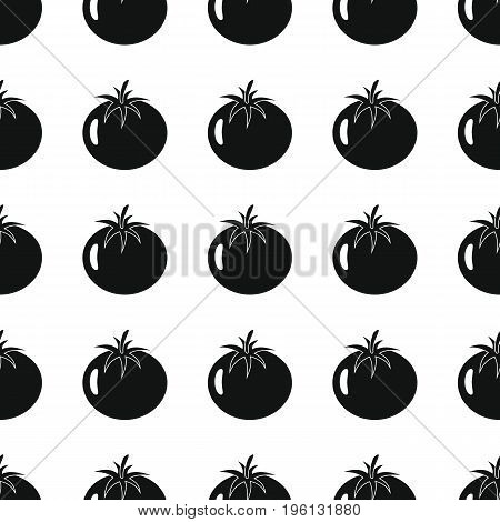 Tomato black simple silhouette vector seamless pattern. Black vegetable stylish texture. Repeating tomato vegetables seamless pattern background for vegetable design and web