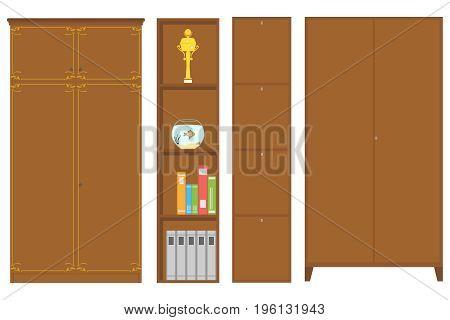 Wardrobe bookcase wardrobe with shelves. Flat design vector illustration vector.