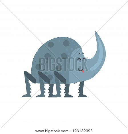 Cute cartoon rhinoceros beetle character vector Illustration isolated on a white background