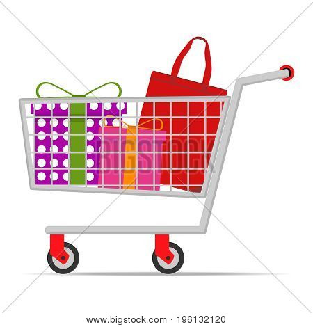 Mobile shopping cart with purchases set of goods. Flat design vector illustration vector.
