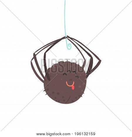 Cute cartoon hanging spider character vector Illustration isolated on a white background