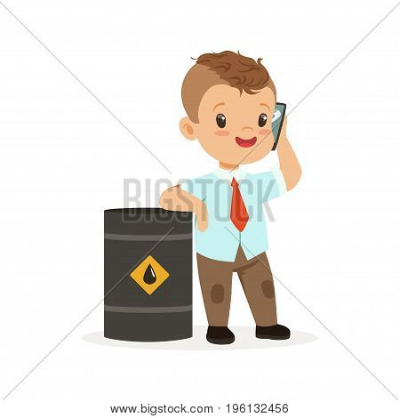 Cute little boy businessman talking on smartphone standing next to a barrel of oil, vector Illustration isolated on a white background