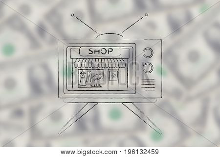 Television With Entire Shop Inside The Screen
