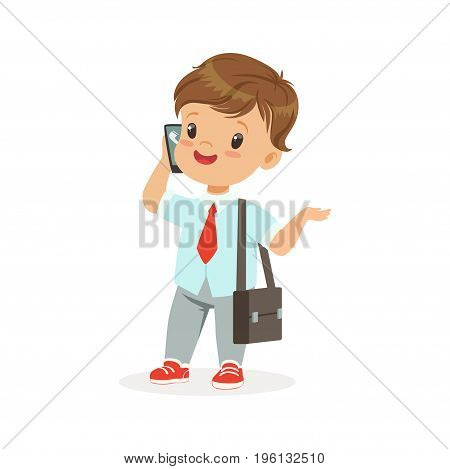 Cute little boy businessman talking on smartphone, vector Illustration isolated on a white background