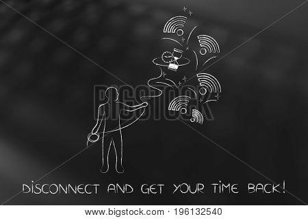 Man Grabbing Hourglass Among Wi-fi Logos, Get Your Time Back