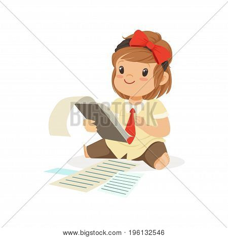 Cute little girl businesswoman working with documents vector Illustration isolated on a white background