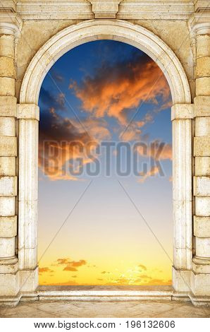 Old gate at dramatic sunset sky. Door to Heaven.