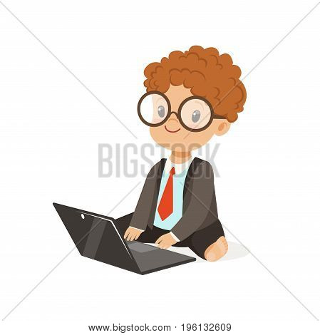 Cute little boy businessman working on his laptop, vector Illustration isolated on a white background