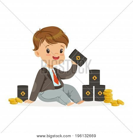 Cute little boy businessman sitting surrounded by stacks of gold coins and barrels of oil, kids financial business vector Illustration isolated on a white background