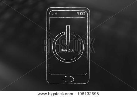 Smartphone With Reboot Symbol