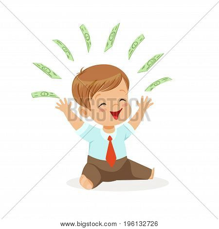 Happy boy businessman, playing with money flying over his head, kids savings and finance, richness of childhood vector Illustration isolated on a white background