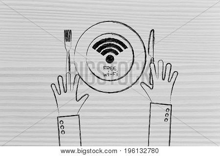 Wi-fi Logo On Plate With Knife And Fork And Hands, Free Connection