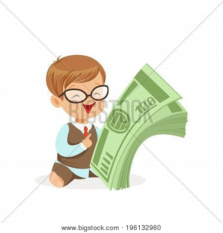 Cute boy businessman holding stack of money, kids savings and finance, richness of childhood vector Illustration isolated on a white background