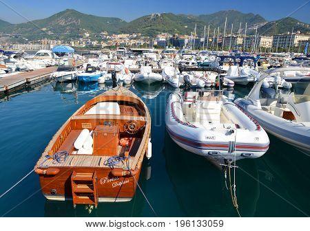 Salerno, Italy - July 6, 2017: Marina in city Salerno.Campania region.