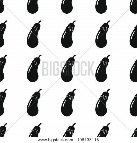 Eggplant black simple silhouette vector seamless pattern. Black vegetable stylish texture. Repeating eggplant vegetables seamless pattern background for vegetable design and web