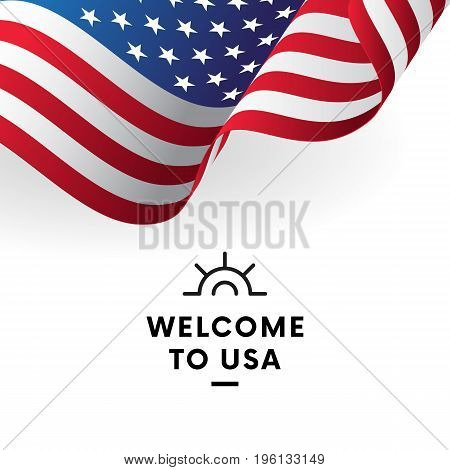 Welcome to USA. United States flag. Vector illustration