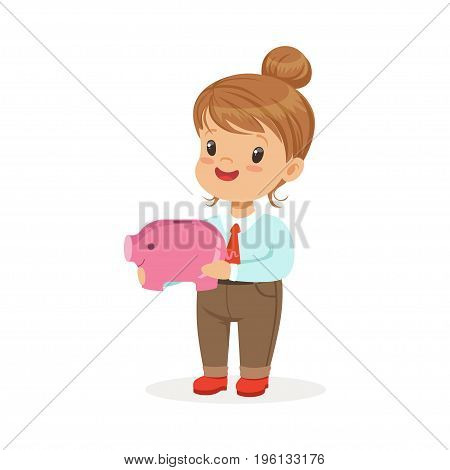 Cute happy little girl businesswoman holding a piggy bank, kids savings and finance vector Illustration isolated on a white background