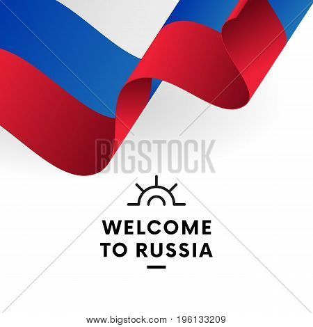 Welcome to Russia. Russia flag. Patriotic design. Vector