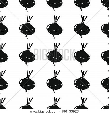 Turnip black simple silhouette vector seamless pattern. Black vegetable stylish texture. Repeating turnip vegetables seamless pattern background for vegetable design and web