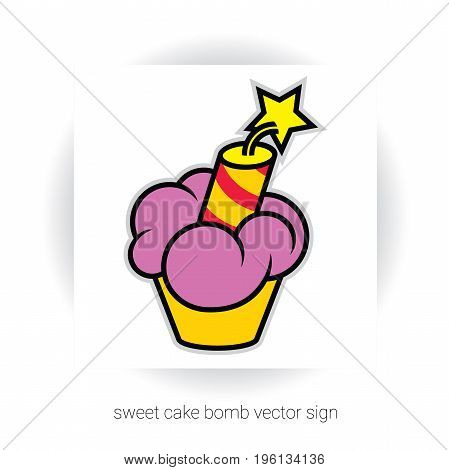 stylized template sign - cake or cupcake with cream and dynamite and stars