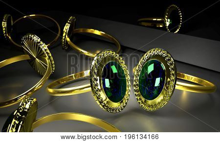 Two engagement gold rings with gem in storefront of imitation jewelry store. Couple luxury jewellery bijouterie with gemstone for people in love in jewelery boutique .