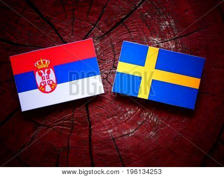 Serbian Flag With Swedish Flag On A Tree Stump Isolated