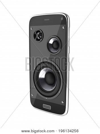 Musical Smartphone Mobile Phone Music App Cellphone And Loudspeakers On White Background 3D Without