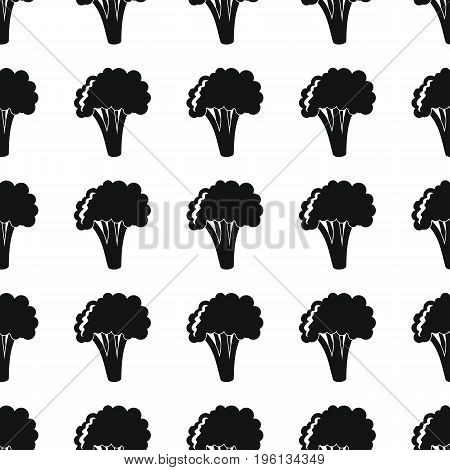 Broccoli black simple silhouette vector seamless pattern. Black vegetable stylish texture. Repeating broccoli vegetables seamless pattern background for vegetable design and web