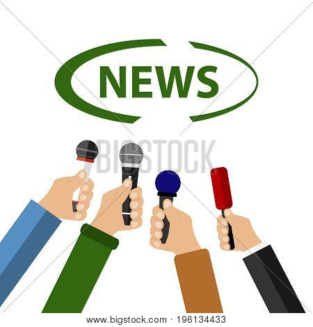 A hand holds a microphone take an interview news. Flat design vector illustration vector.