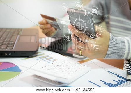 Businesswoman Using Mobile Phone To Online Payment By Credit Card.