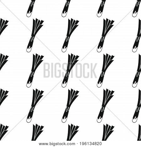 Leek black simple silhouette vector seamless pattern. Black vegetable stylish texture. Repeating Leek vegetables seamless pattern background for vegetable design and web