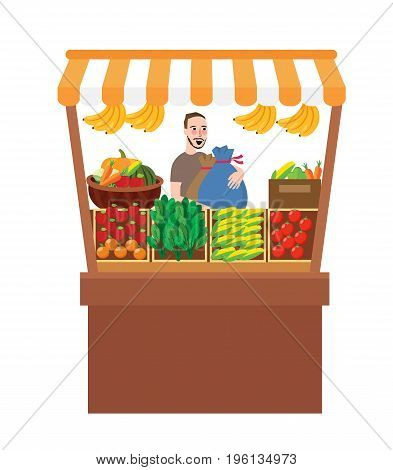 man selling fruits vegetables in stall stand fresh market farm product vector