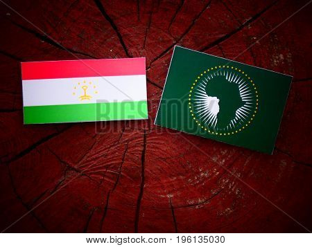 Tajikistan Flag With African Union Flag On A Tree Stump Isolated