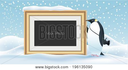 Scrapbook with New Year Christmas or winter background vector illustration. Cute penguin character holding photo frame for collage
