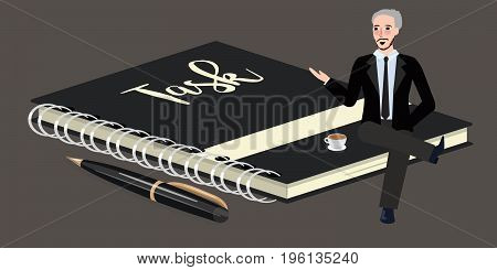 man sitting on big book of task list businessman wearing suit and tie vector