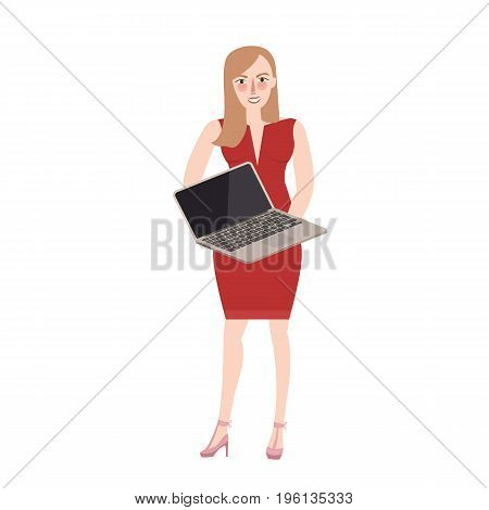 woman standing holding laptop try to sell marketing product commercial retail vector