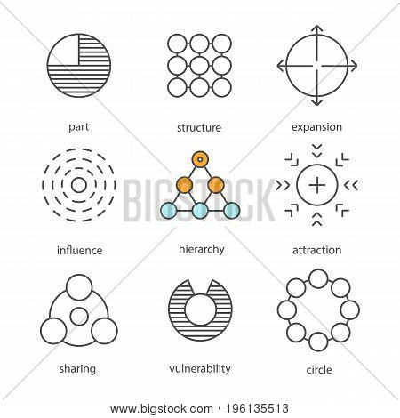 Abstract symbols linear icons set. Part, structure, expansion, influence, hierarchy, attraction, sharing, vulnerability, circle. Thin line contour symbols. Isolated vector outline illustrations