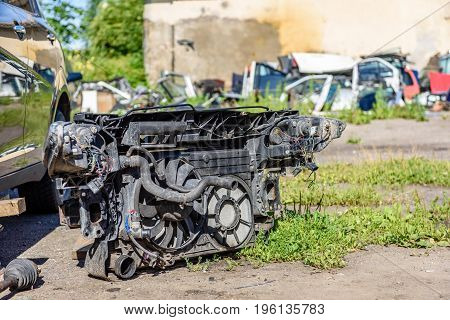 The Old Engine Of A Car. Internal Design Of Engine.