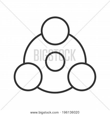 Sharing linear icon. Thin line illustration. Abstract metaphor contour symbol. Vector isolated outline drawing